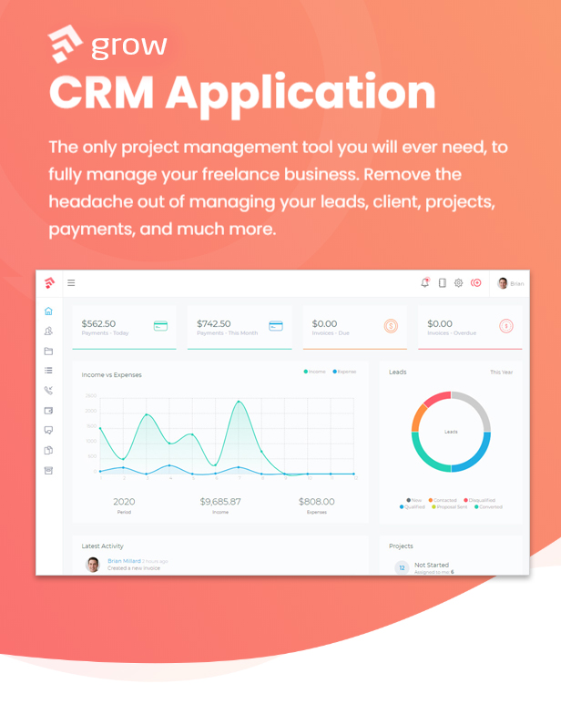 Grow - Project Management CRM With Invoicing Estimates Leads And Tasks - 1