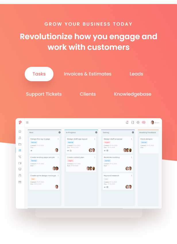 Grow - Project Management CRM With Invoicing Estimates Leads And Tasks - 9